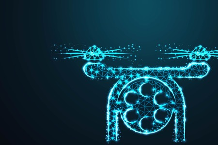 Photo and video drone ,Abstract 3d polygonal wireframe airplane on blue night sky with dots and stars. illustration or background