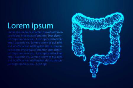 Dickdarm, Darm, Verdauungssystem, Anatomie des Menschen. Abstraktes Low-Poly, Dreieck, Punkt, Linie, Polygon. Glänzender blauer Hintergrund, Vektorillustration Vektorgrafik