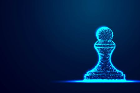 Chess Pawn wireframe Polygon blue frame structure, Business strategy concept design. Abstract low poly, Triangle, dot, line, polygon. Shine blue background, Vector illustration Illustration