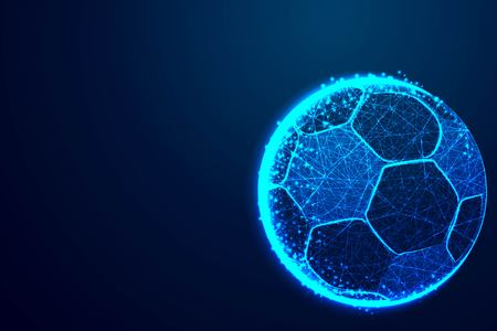 ball, football team, Abstract low poly, Triangle, dot, line, polygon. Shine blue background, Vector illustration Reklamní fotografie - 113727329