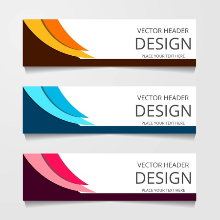 Abstract design banner, web template with three different color, layout header templates, modern vector illustration Vettoriali