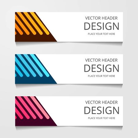 Abstract design banner, web template with three different color, layout header templates, modern vector illustration 일러스트