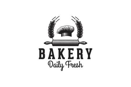 Toque de chef, rouleau à pâtisserie, grain de blé, logo de boulangerie vintage Logo