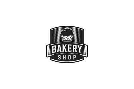 Cupcake label, Vintage bakery logo