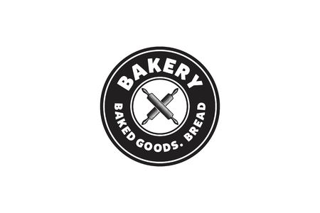 Round emblem, Hipster crossed rolling pin, Bakery Logo Designs Inspiration Isolated on White Background Illustration