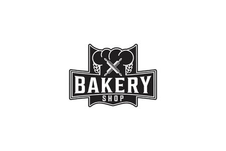 Crossed rolling pin, Vintage Bakery Logo Designs Inspiration Isolated on White Background