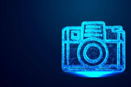 Camera, Lens, Photography .Abstract low poly, Triangle, dot, line, polygon. Shine blue background, Vector illustration