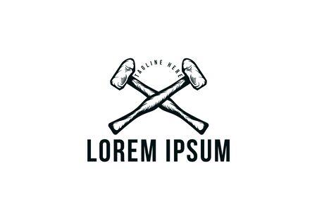 crossed hammer, Vintage carpentry, woodwork and mechanic label, badge, emblem