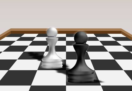 Black Pawn Chess Vs White Pawn Chess, Business Strategy Concept. Competitive Advantage in a Business Competition Environment. 3d Rendering. Vector Illustration Illustration