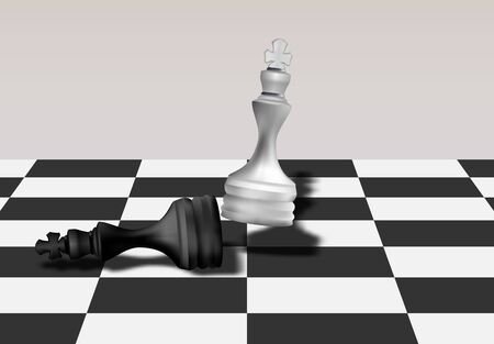 White Chess King  Queen Break Down Black Chess King  Queen, Business Competition Concept. Tactical Strategy. Vector Illustration