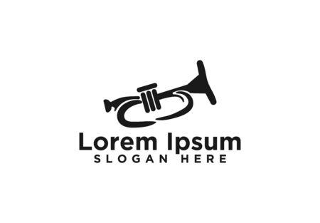 Medieval trumpets, saxophone logo designs Stock Vector - 129671723