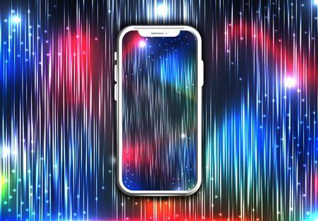 teléfono con fondo colorido. ilustración vectorial