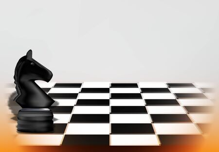 Chess game concept with realistic board and black horse piece of chess vector illustration
