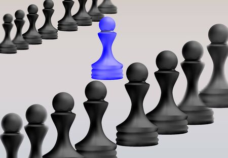 Leadership concept, Blue pawn of chess, standing out from the crowd of blacks. Business Strategy, 3d Rendered.  Vector Illustration.