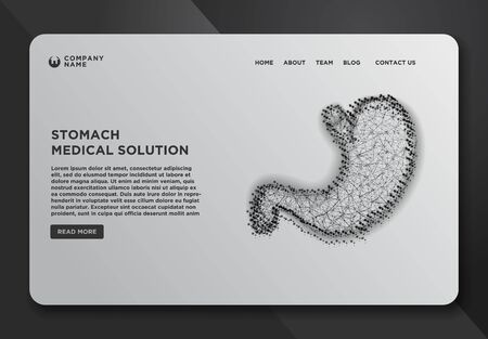Web page design templates collection of Stomach.  The concept of treatment of the digestive system. Abstract Wireframe from dot and lines design. Vector Illustration  イラスト・ベクター素材