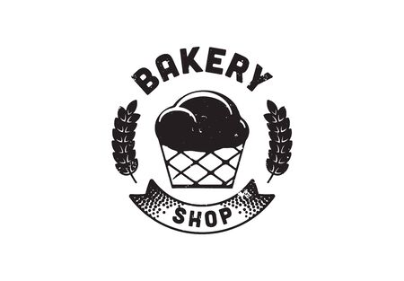 Vintage Retro Badge, Charcoal Hand Drawing, Classic Bakery Logo Design. Bakery Shop. Vector Illustration