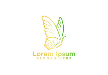 Butterfly template design. Minimalist Butterfly logo with modern frame vector design Illustration