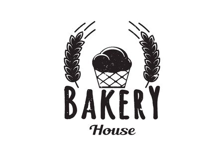 Vintage Retro Badge, Charcoal Hand Drawing, Classic Bakery Design. Bakery Shop. Vector Illustration