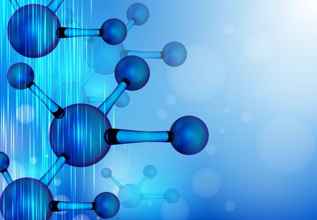 Structure molecule . Dna, atom, neurons. Scientific background for medicine, science technology chemistry. molecule illustration over blue background with  copy space for your text