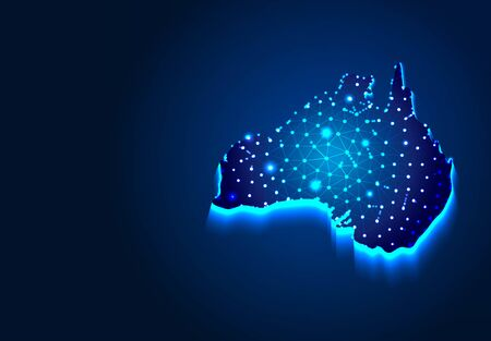 Australian Map, Abstract Low poly Designs, from line and dot wireframe, Vector Illustration