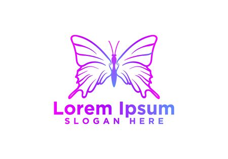 awesome colorful butterfly logo design vector illustration Иллюстрация