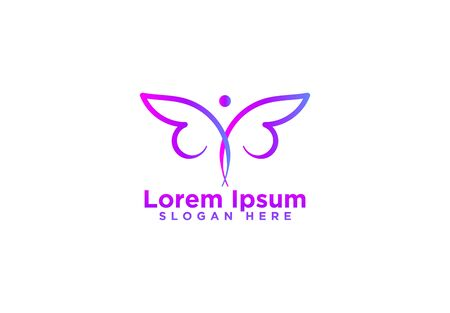 Butterfly logo template design. Minimalist Butterfly with modern frame vector design Illustration