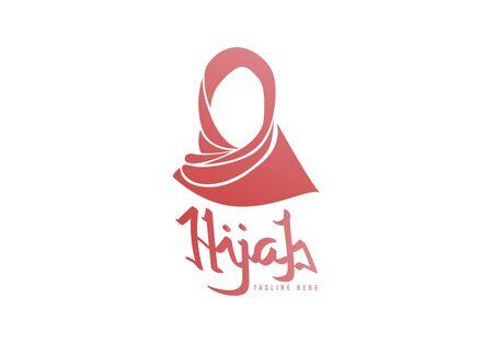 beauty hijab, Muslim female, Scarf logo template. Vector Illustration