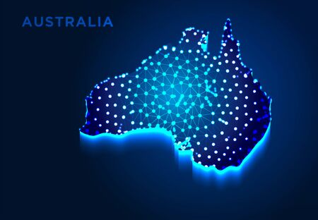 Australia Map in Blue Silhouette, Abstract Low poly Designs, from line and dot wireframe, Vector Illustration