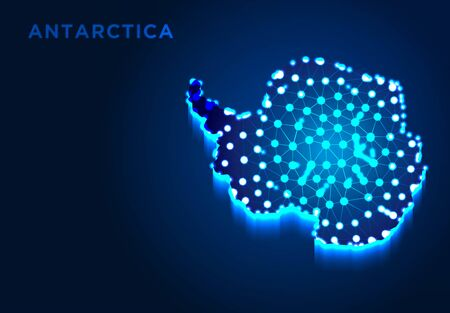Antarctica Continent in Blue Silhouette, Abstract Low poly Designs, from line and dot wireframe, Vector Illustration