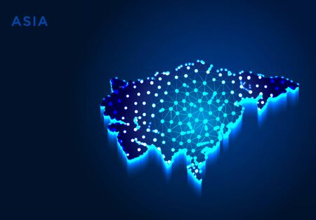Asia Continent in Blue Silhouette, Abstract Low poly Designs, from line and dot wireframe, Vector Illustration