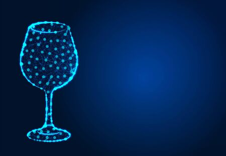 a glass of wine , Abstract Low poly Designs, from line and dot wireframe, Vector Illustration