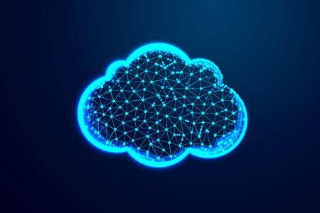 Nube, poli baja abstracta, triángulo, punto, línea, polígono. Fondo azul brillante, ilustración vectorial