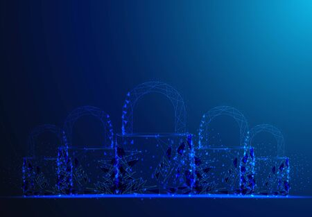 Padlock. Polygonal wireframe mesh looks on dark blue background. Cyber security, safe, privacy or other concept. Vector illustration Ilustracja