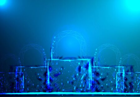 Padlock. Polygonal wireframe mesh looks on dark blue background. Cyber security, safe, privacy or other concept. Vector illustration Ilustrace