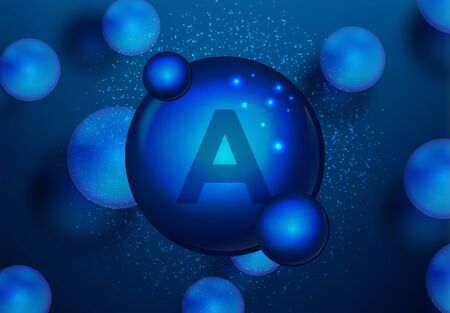 Vitamin A Blue shining pill capsule icon . Vitamin complex with Chemical formula. medical and pharmaceutical ads. Vector illustration  イラスト・ベクター素材