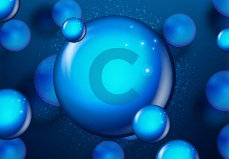 Vitamin C Blue shining pill capsule icon . Vitamin complex with Chemical formula. medical and pharmaceutical ads. Vector illustration