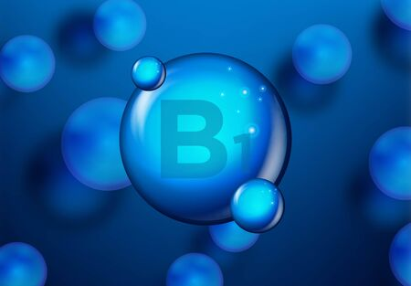 Vitamin B1 Blue shining pill capsule icon . Vitamin complex with Chemical formula. medical and pharmaceutical ads. Vector illustration Standard-Bild - 129861388