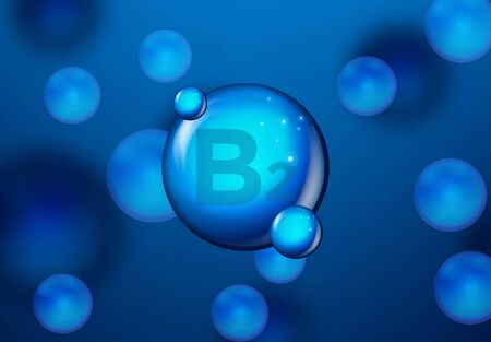 Vitamin B2 Blue shining pill capsule icon . Vitamin complex with Chemical formula. medical and pharmaceutical ads. Vector illustration Standard-Bild - 129861389