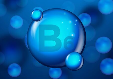 Vitamin B6 Blue shining pill capsule icon . Vitamin complex with Chemical formula. medical and pharmaceutical ads. Vector illustration