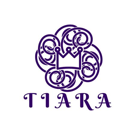 princes tiara. mono line logo Ideas. Inspiration logo design. Template Vector Illustration. Isolated On White Background