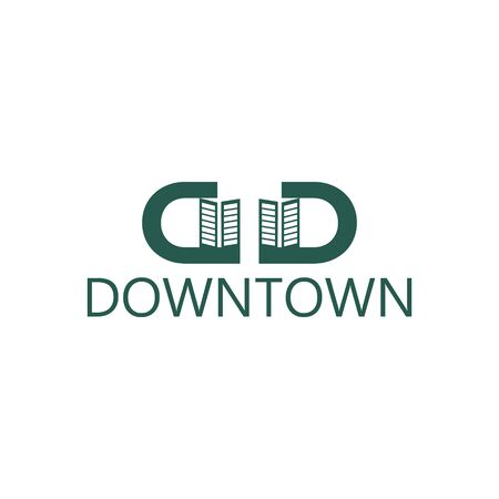 Initial letter D twin down and town Modern Logo Ideas. Inspiration logo design. Template Vector Illustration. Isolated On White Background Vettoriali