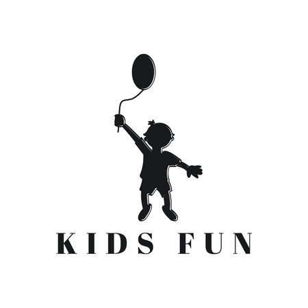 silhouette kids playing balloon  Logo Ideas. Inspiration logo design. Template Vector Illustration. Isolated On White Background
