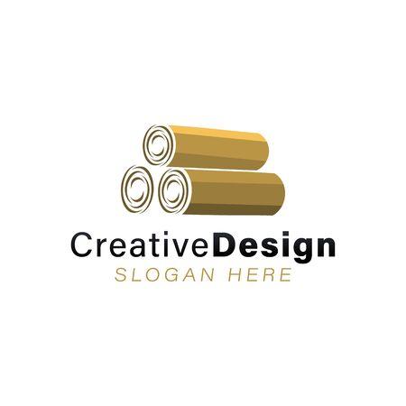 pile of wood logo Ideas. Inspiration logo design. Template Vector Illustration. Isolated On White Background Foto de archivo - 137542257