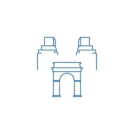 Idées de logo de bâtiment de capital mono ligne. Création de logo d'inspiration. Illustration vectorielle de modèle. Isolé sur fond blanc Logo