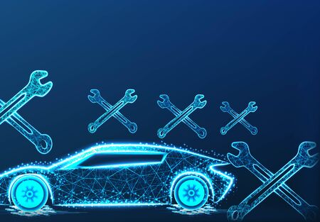 Car repairing. form lines and triangles, point connecting network on blue background.  vector Illustration