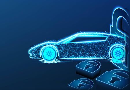 Sport car and padlock, security concept. form lines and triangles, point connecting network on blue background. vector Illustration