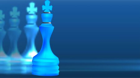 Blue White Chess King. Become a leader. Business And Sport Concept. Isolated On Blue Background. Vector Illustration