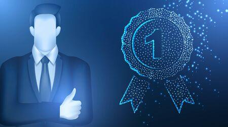businessman medal number one.  Business concept. Vector Illustration on dark blue background
