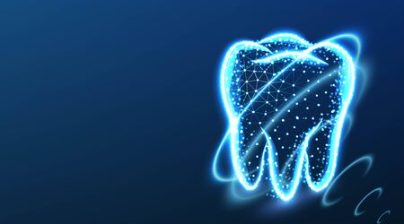tooth, teeth, safety coating. Dental care. Dental Protection, Abstract Low Poly Wireframe mesh design. From Connecting dot and line. Vector Illustration on dark blue background