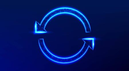 circle arrows in a round rotating circular, recycle. abstract low poly wireframe mesh design. from connecting dot and line. vector illustration on blue background 向量圖像